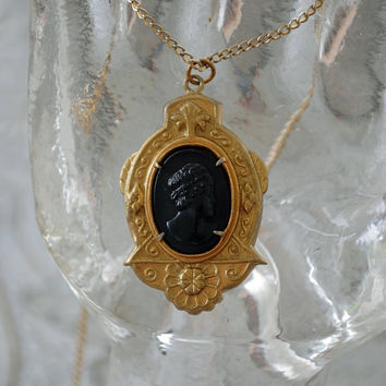 "Art Deco / Black Mourning Cameo Necklace / Signed Coro / Gold Tone and Black Incolay / 18""  Gold Tone Chain / 1930s Costume Jewerly"