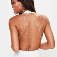 Missguided - White Diamante Back Bodysuit