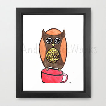 The tea thief, owl watercolor painting
