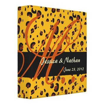 Gold Leopard Monogram Wedding Planner Binder PERSONALIZE with your names and wedding date
