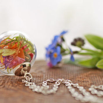 Irish wildflower necklace , real plant necklace , Sterling silver pendant , Irish jewellery , miniature terrarium , glass orb, living locket