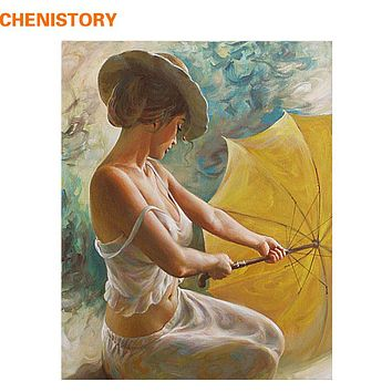 CHENISTORY Sexy Woman Painting By Numbers DIY Abstract Oil Painting Character Acrylic Canvas Painting Adornment Wall Art picture