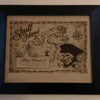 """Leather Gift Laser Engraved """"Pirate Map"""" Treasure Scull Island For Boy or Pirate Fan With Frame Art"""