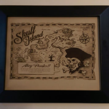 "Leather Gift Laser Engraved ""Pirate Map"" Treasure Scull Island For Boy or Pirate Fan With Frame Art"