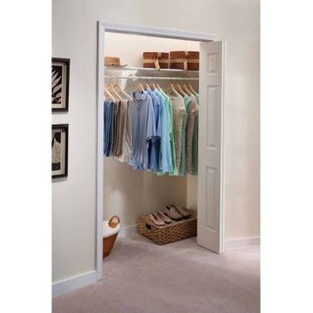 "EZ Shelf Expandable Closet Shelf and Rod with No Brackets, 40""-73"", White - Walmart.com"