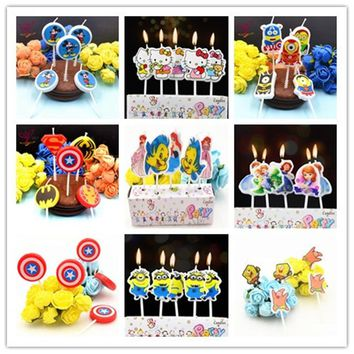Birthday Cake Toppers birthday candles Avengers superhero Minions Hello Kitty Mickey Minnie Mouse Party supplies Decoration