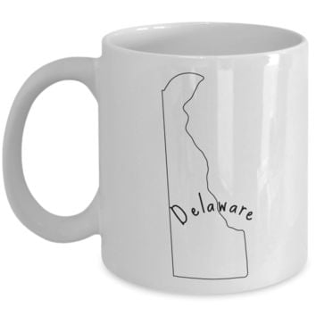 50 states series - Delaware outline - coffee / hot chocolate / tea mug - 11 oz ceramic cup