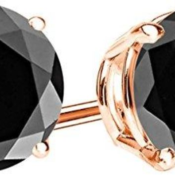 2 Carat Total Weight Black Diamond Solitaire Stud Earrings Pair 14K Rose Gold Popular Premium Collection 4 Prong Push Back