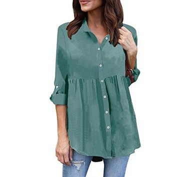 TOOPOOT 2018 New Womens Blouse,Plus Size Solid Spring Summer Long Sleeve Casual Chiffon Ladies Top T-Shirt