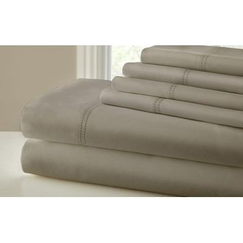 Amrapur 1000 Thread Count 6 Piece Sheet Set With Double Faggoting Hem In Taupe