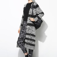 Black Grey Stripe Vision Cardigan  OU0055