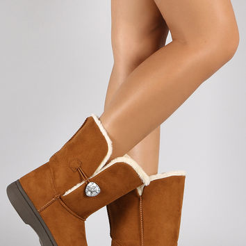 Bamboo Faux Sheepskin Suede Gem Mid Calf Boot