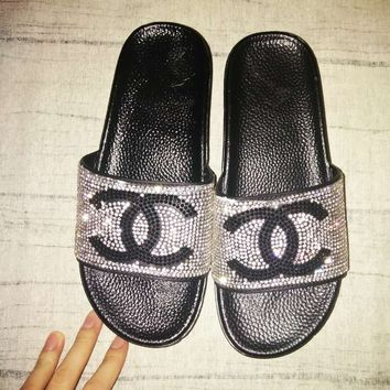 Chanel Women Diamond Shining Sequin Double C Fashion Slippers Sandals B104500-1 Black