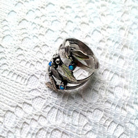 SILVER BRANCH RING,jewelry,Silver leaf ring,girls gift,silver leaf ring,personalized,flower ring,nature ring,handmade,gift ring,quartz
