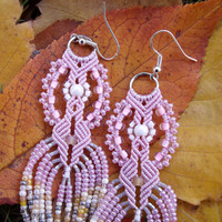 Bohemian long fringe micro macrame earrings - Delicate Pale Pink Pearl Beige Unique Beadwork