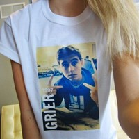 MAGCON NASH GRIER TEE White Short Sleeved TShirt Unisex Adult Size S, M, L, XL