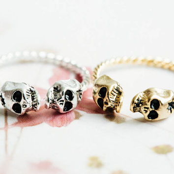 Adjustable twisted skull ring,skull rings,unique rings,adjustable rings,stretch rings,men ring,cool rings,couple rings,cute ring,skd232