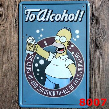 Neon Beer Sign Beer The Cause of And Solution To All of Life's Problems Vintage Metal Signs Retro Plate Painting Wall Decoration
