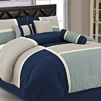 Chezmoi Collection 7-Piece Quilted Patchwork Comforter Set, Queen, Blue/Gray