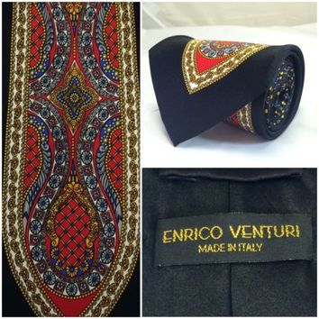 EXQUISITE ENRICO VENTURI 100% SILK ITALY MULTI COLOR PATTERN MENS POWER TIE 60""