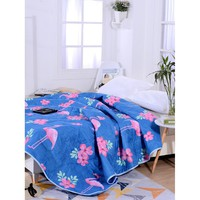 Flamingos & Flower Print Solid Quilt