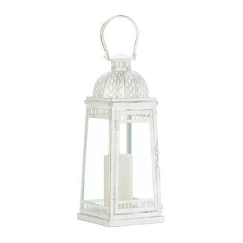 Vintage White Country Porch Victorian Candle Lanterns | 2 Sizes