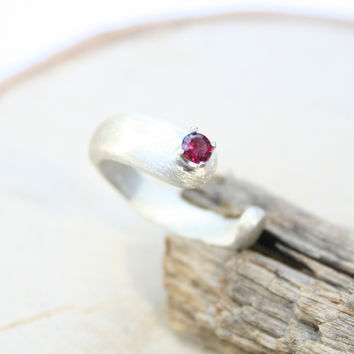 3mm Gemstone Neige Ring Sterling Silver Brushed Matte Finish Handmade to Order