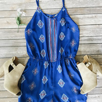 Lyric Print Romper (Royal)