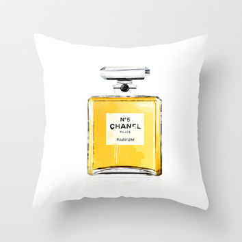 chanel no5 Throw Pillow by Nina Lindgren