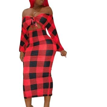 Women Red/Blue Plaid Print Off The Shoulder Long Sleeve Cut Out Dress