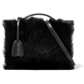 Mark Cross - Grace small shearling-paneled leather shoulder bag