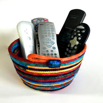 Coiled Rope Basket - Jewel Tone Hand Dyed Colors - Fabric Bowl Organizer - Clothesline Basket - Fiber Art - For Him Remote Holder - Man Cave