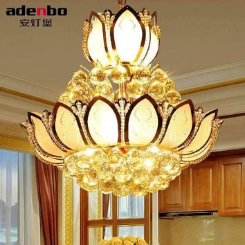 Lotus Flower Glass Gold LED Crystal Chandeliers Lights Ceiling Pendant Lamp 45cm 50cm For Dining Room Bedroom Lighting (ADB307)