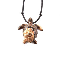 Turtle Necklace, Turtle Pendant, Men Turtle Necklace, Mens Turtle Pendant, Mens Necklace, Men Jewelry, Nautical Jewelry, Wood Carved Pendant