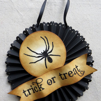 Halloween glittered SPIDER door or wall medallion