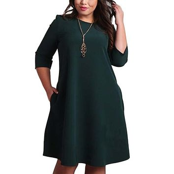 L-6XL Big Size Dresses Office Ladies  Casual Loose Autumn Dress With Pockets