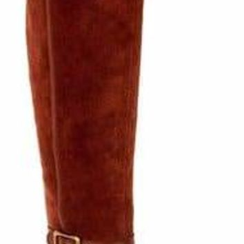 Franco Sarto Dark Mahogany Crimson Medium Calf Suede Over-the-Knee Boots