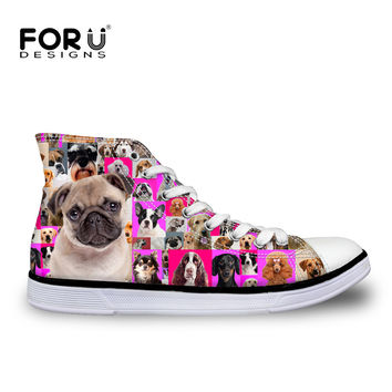 Hot Sales Women High-Top Canvas Shoes Fashion,Husky France Pug Dog Cat Pattern Lace-up Flat Shoes Woman Girls Casual Shoe Female