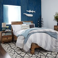 Coastal Stripe Duvet Cover + Shams - Frost Gray