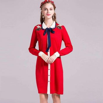 Design Women Knitted Dress Full Sleeve Bees Embroidery Peter Pan Collar Knee Length Red Blue Dress Top Quality
