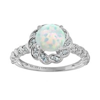 Lab-Created Opal & Blue Topaz Sterling Silver Flower Ring