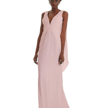 Long, v-neck, shawl dress in white Dusty Pink Eternity - Formal Dresses | Prom Dresses | Bridesmaid Dresses | Evening Gowns - Fame & Partners