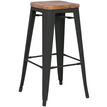 Grand Metal Counter Stool- Set of 4 BLACK