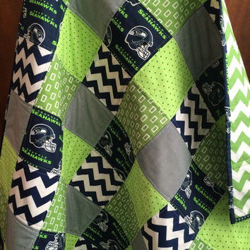 Seahawks Baby Handmade Quilt, Blue Chevron Blanket, Seattle Seahawks Football Gameday Blanket