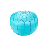 Moroccan Leather Pouf, Turquoise
