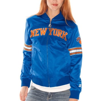 New York Knicks Starter Women's Blitz Satin Full Zip Jacket - Royal Blue