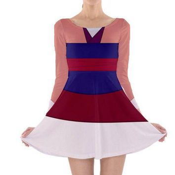 Pink Mulan Inspired Long Sleeve Skater Dress