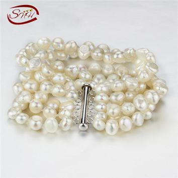 SNH 8MM baroque AA 2017 New Bracelet Pearl Jewelry 925 Sterling Silver Winding Bracelet