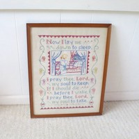 Vintage Prayer Sampler Picture Now I Lay Me Down to Sleep....Cross Stitch Embroidery Red Blue Yellow Green  17 x 21 inches Signed 1940