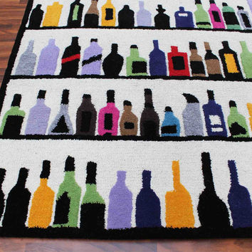 Multi Bottles 5 x 8 Handmade Floral Persian Style Wool Area Rug